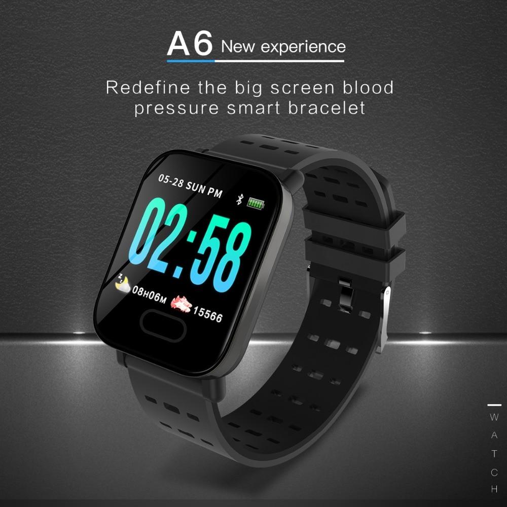 A6 montre intelligente moniteur de fréquence cardiaque Tracker de Fitness moniteur de sommeil Sport étanche SmartWatch horloge IOS Android
