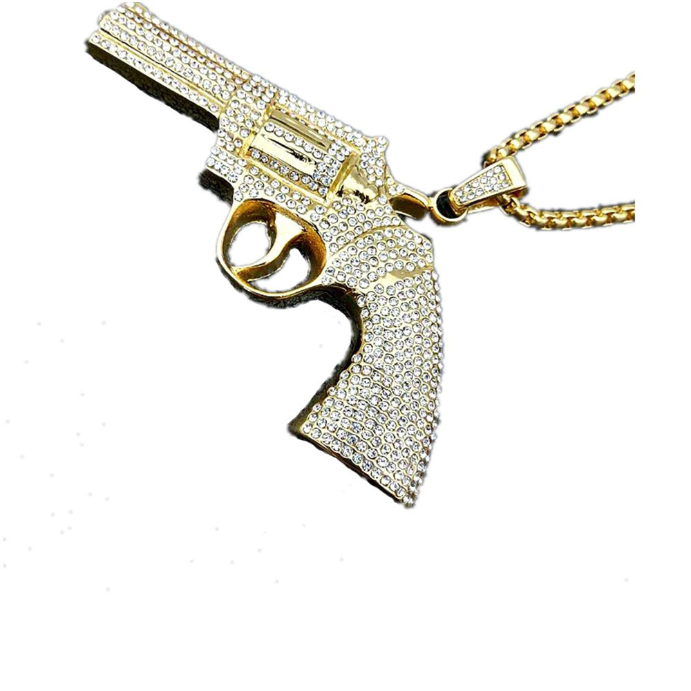 MCSAYS Hip Hop Jewelry Iced Out Full CZ Revolver Gun Pendant