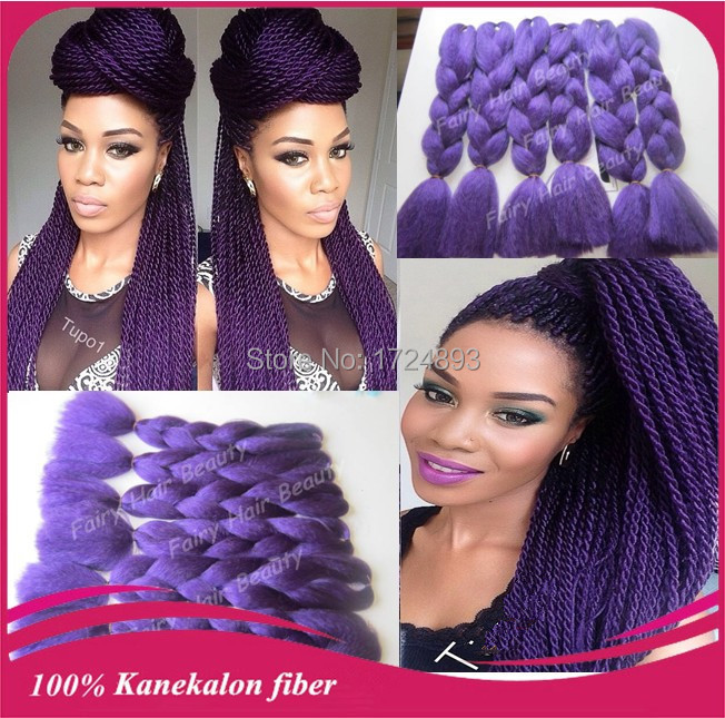 Aliexpress Hot Ing 20 Synthetic Jumbo Braid Purple Kanekalon