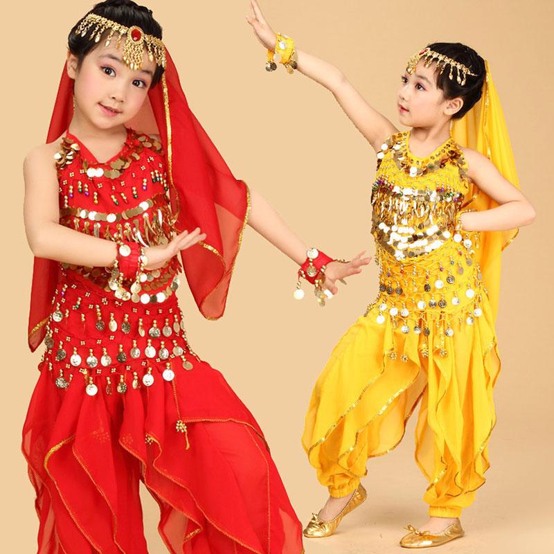 4pcs/Set Performance Bollywood Girls Ballet Dress For Children Girl Kids Ballet Costume Egypt Dance Sets Girl Indian Bellydance