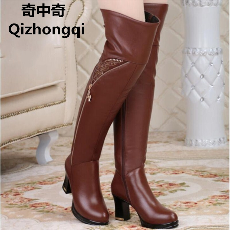 2017 winter new women s genuine leather boots high heeled the jackboot long barrel Over the