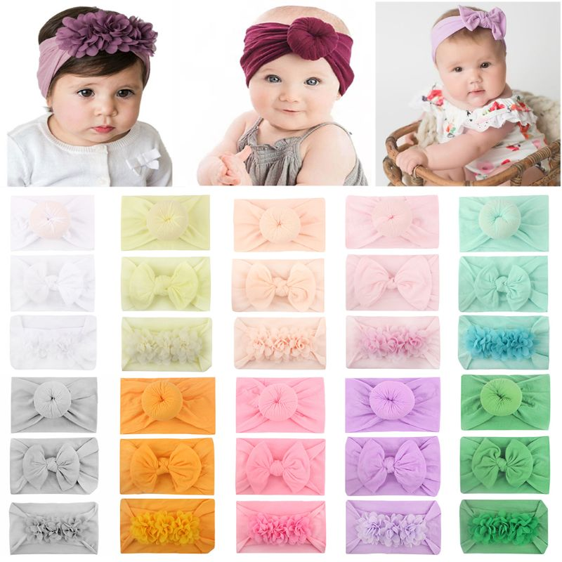 3 Pcs/Set New Super Soft Nylon Baby Hair Accessories Donut Bow Chiffon Flower Children Kids Jewelry Hairband