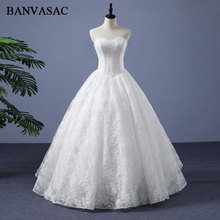 BANVASAC 2018 Lace Appliques Ball Gown Strapless Wedding Dresses Elegant Real Photos Embroidery Plus Size Bridal Gowns