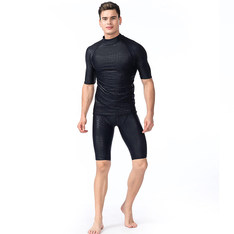 b91f0ca9802 2017 Plus Size Surfing Swimming Tops Men Beach Sun UV Protection Swimwear  Rash Guard Man Short Sleeve Basic Skins Tees Black-in Rash Guard from  Sports ...