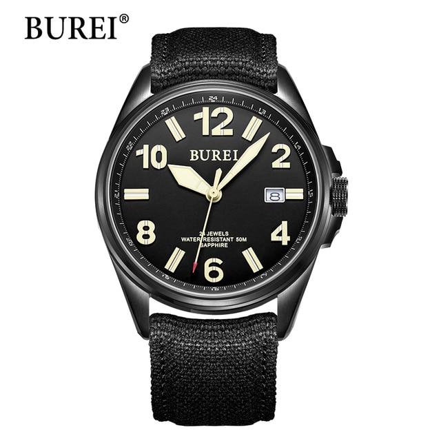 0d75474537d4 BUREI moda relojes mecánicos relojes militares reloj Digital lona masculina  reloj impermeable zafiro reloj automático Venta