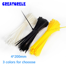 4*200mm 100Pcs/bag 3 colors for choose Colorful velcro nylon cable ties wire tie Self-Locking plastic zip