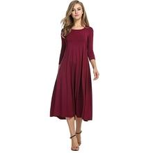 Women Vintage Dress Autumn Winter Casual Loose Boho Long Maxi Dresses Plus Size