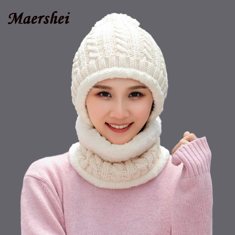 MAERSHEI Winter Skullis Beanies Hats Scarf Set Pompom Women Men Wool Caps Balaclava Mask Gorras Bonnet Knitted Hat Cap