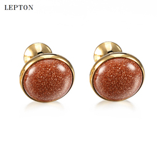 hot deal buy low-key luxury goldstone cufflinks for mens lepton high quality round gold stone cufflinks mens shirt cuff links relojes gemelos
