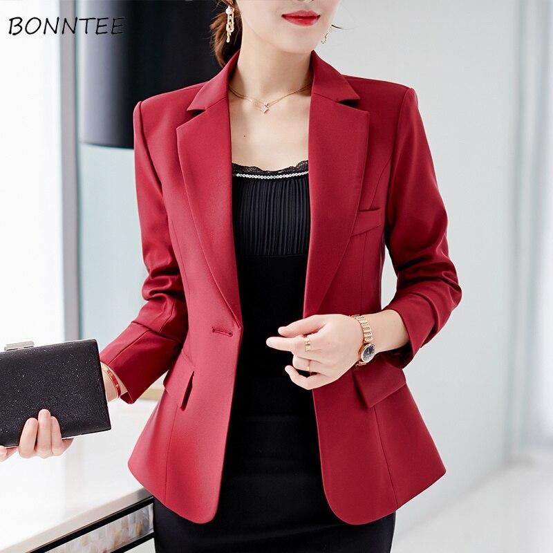 Blazers Women Slim Solid Elegant Notched Leisure Lady Blazer Winter Long Sleeved Simple Korean Style All-match Womens Trendy