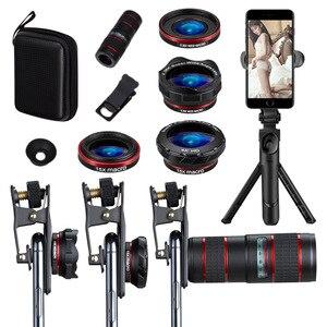 Image 5 - 6 ב 1 טלפון עדשת סט 12X רחבה זווית מאקרו טלפון עדשת HD מעוותת מצלמה טלפון עדשת לחיות חצובה טלסקופ סט