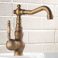 Health sanitary ware Bamboo antique basin mixer tap with single handle solid brass bathroom basin sink faucet