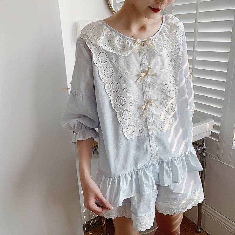 Summer Soft Women's Embroidery Cotton Pajamas Sets Short Sleeve Sexy Shorts Pyjamas Soft Vintage Princess Nightwear S-XL