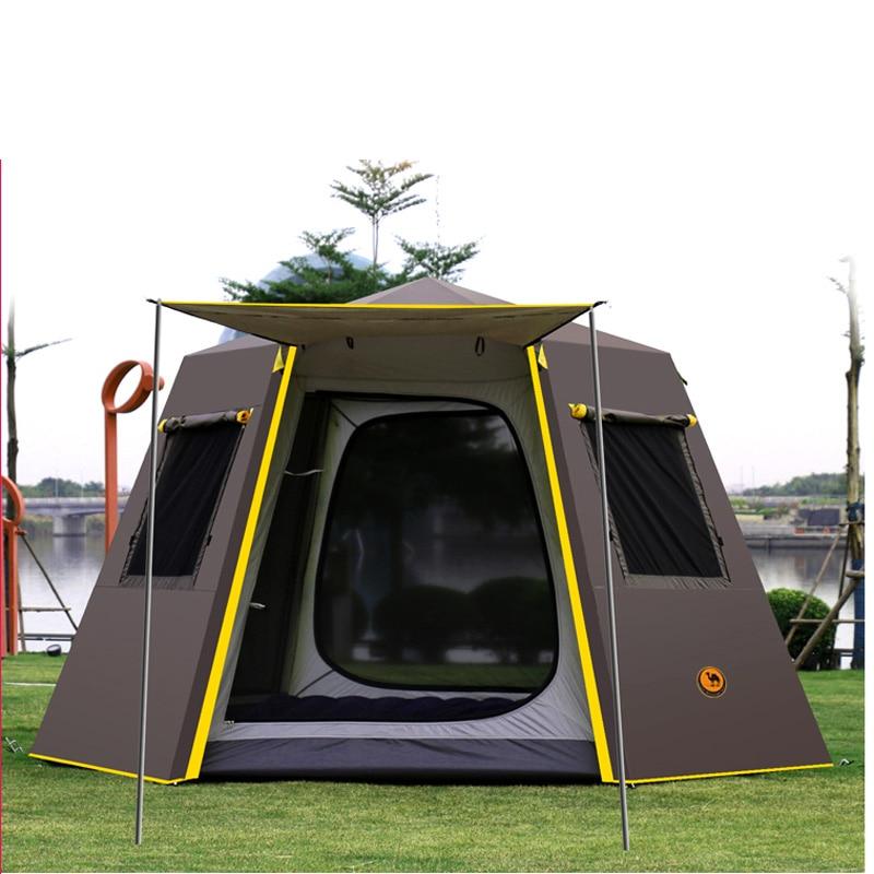 UV hexagonal aluminium pôle automatique camping en plein air sauvage grande tente 3-4 personnes auvent jardin pergola 245*245*165 CM