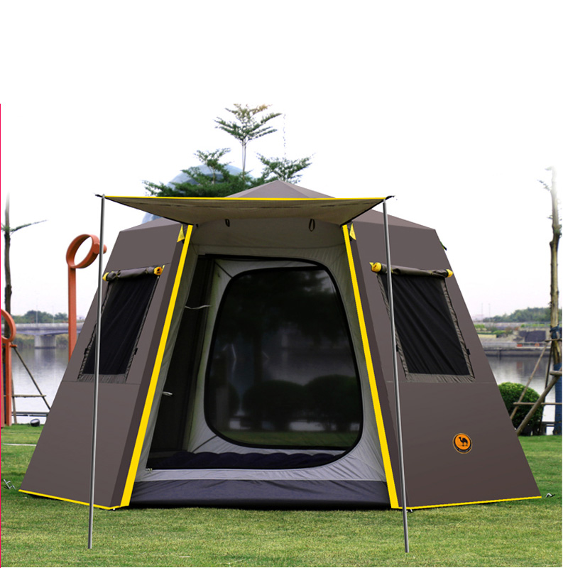 UV Hexagonal Aluminum Pole Automatic Outdoor Camping Wild Big Tent 3-4persons Awning Garden Pergola 245*245*165CM