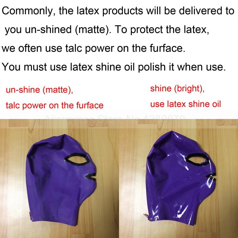 Unisex Latex Rubber Hood Mask Cosplay untuk Parti dengan Zip Kembali - Kostum karnival - Foto 3
