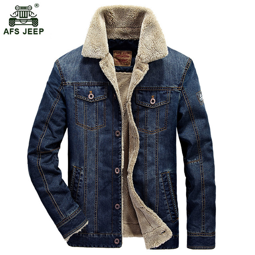 M~4XL New Retro Warm Denim Jackets Mens Jeans Coats Winter Jackets Brand AFS JEEP Thicken Denim Coat Men Outwear Male 136zr afs jeep autumn jeans mens straight denim trousers loose plus size 42 cowboy jeans male man clothing men casual botton page 2
