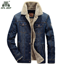 M~4XL New Retro Warm Denim Jackets Mens Jeans Coats Winter Jackets Brand AFS JEEP Thicken Denim Coat Men Outwear Male 136zr(China)