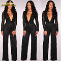 Adogirl Women Black Sexy Lace Deep V Neck Long Pants Jumpsuits Rompers Autumn 2017 Long Sleeve Elegant Bodycon Jumpsuit Overalls