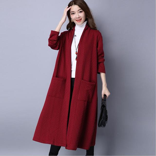 Plus Size Autumn Women Long Cardigans Long Sleeve Open Stitch Knit