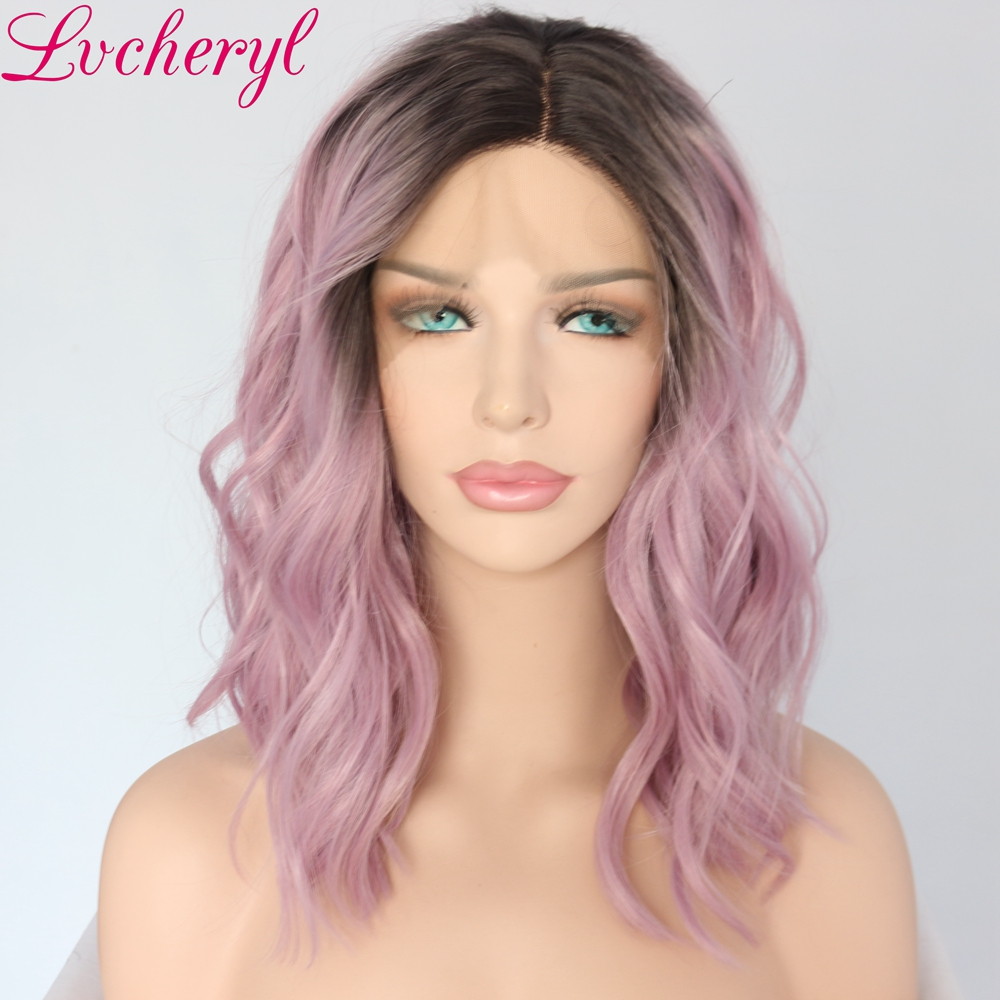 Lvcheryl Hand Tied High Temperature Fiber Dark Roots To Mxied Purple Short Bob Wavy Heat Resistant Synthetic Lace Front Wigs