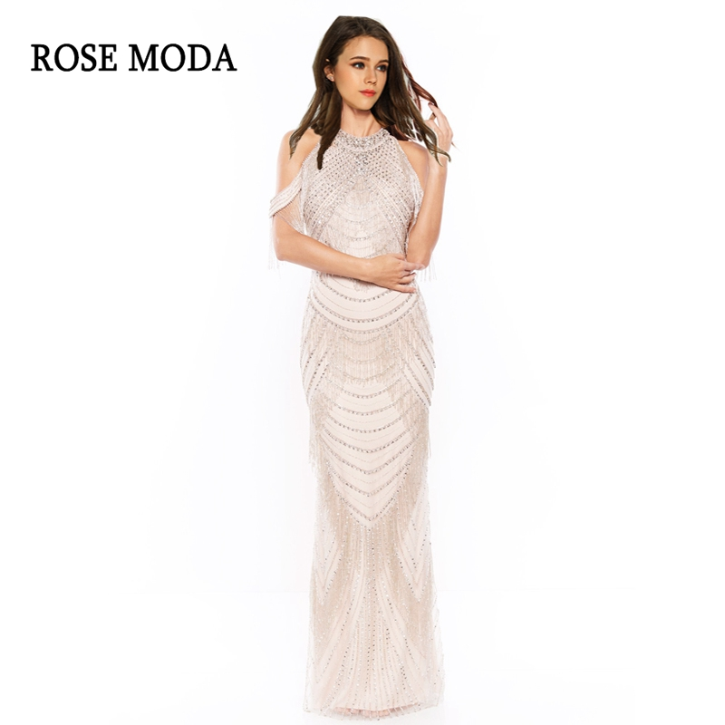 Rose Moda Luxury   Prom     Dresses   Long 2018 with Slit Off Shoulder Formal   Prom     Dress   with Beadings Real Photos