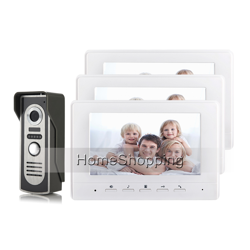 FREE SHIPPING New 7 Color Screen Video Intercom Door Phone System 3 White Monitors 1 Night Vision Outdoor Door Camera Wholesale gibbons dave worlds finest