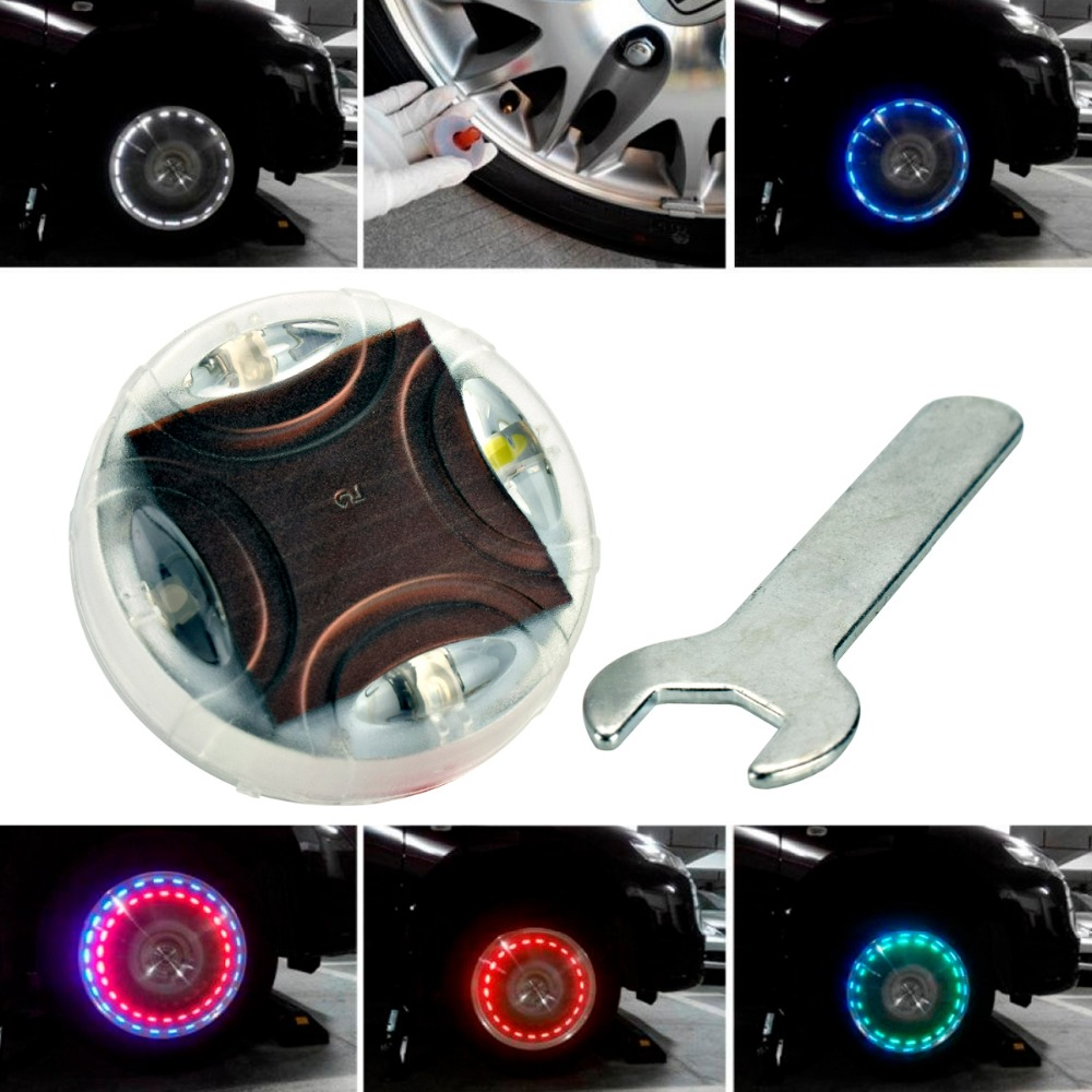 2x13Mode Solar Energy LED Car Flash Wheel Tire Valve Cap Neon DRL Car Styling for bmw Toyota kia mazda VW Volkswagen opel audi new 4pcs led neon car bike wheel tire tyre valve dust cap spoke flash lights hot
