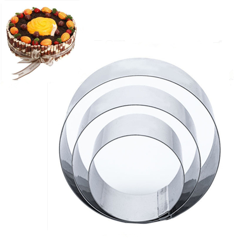 3pcs/set Fine <font><b>Stainless</b></font> <font><b>Steel</b></font> Cookie Cutter Round Circle Mousse Ring Cake Chocolate Fondant <font><b>Cheese</b></font> <font><b>Mold</b></font> For Kitchen image