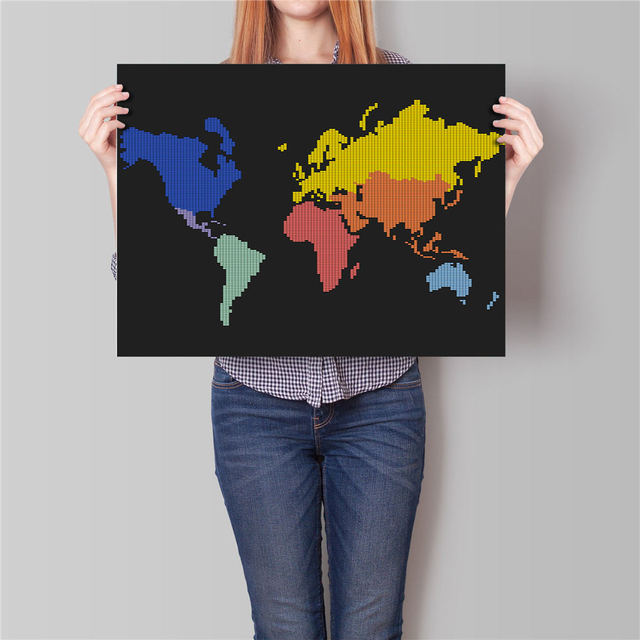Abstract watercolor world map poster modern home bar cafe living abstract watercolor world map poster modern home bar cafe living room decor retro wall art crafts gumiabroncs Gallery