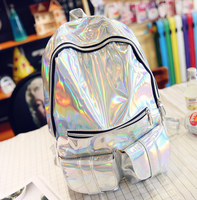 2017 New Silver Hologram Laser Back Pack Backpack Women Men S Bag Leather Holographic Backpack