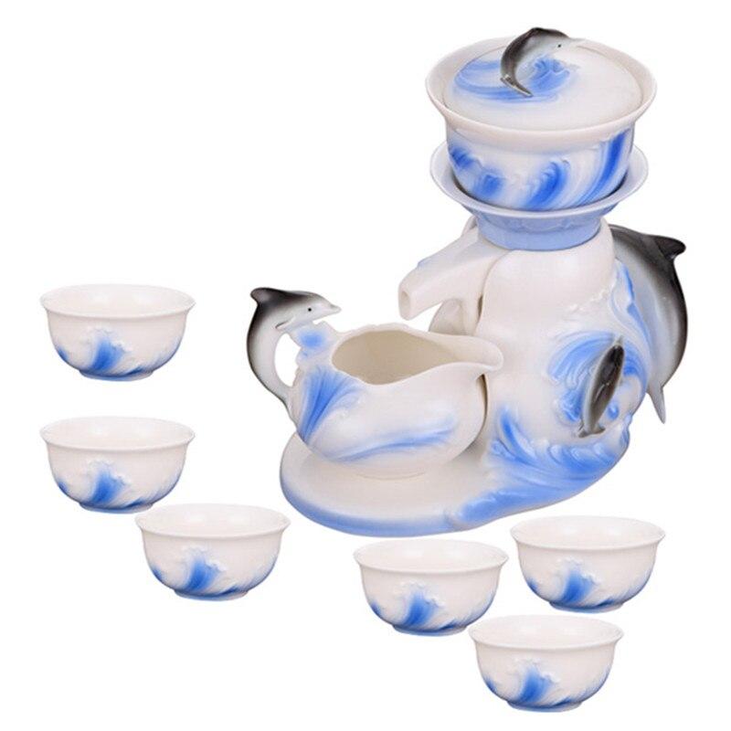 9 pièces chinois main peinture Kung Fu Semi automatique émail porcelaine café thé ensemble tasses chine os thé Pot thé européen tasses à café