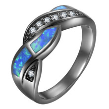 1PC Women Fashion Vintage Black Gun Color Wave Blue Stone Rings Jewelry Party Cocktail Ring for Wedding Gift