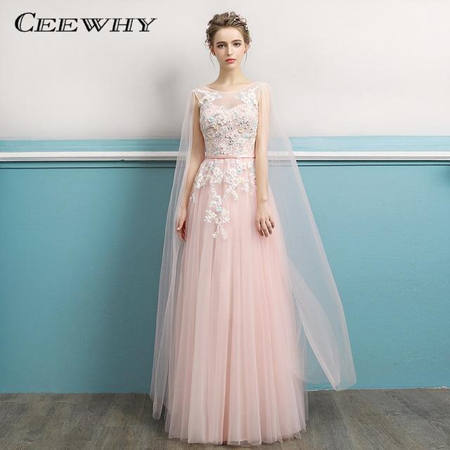 CEEWHY Sleeveless Vestido de Festa Lace Tule Appliques Embroidery Evening Dress  Long A-Line Prom Formal Dress Evening Gowns 339e9a212cae