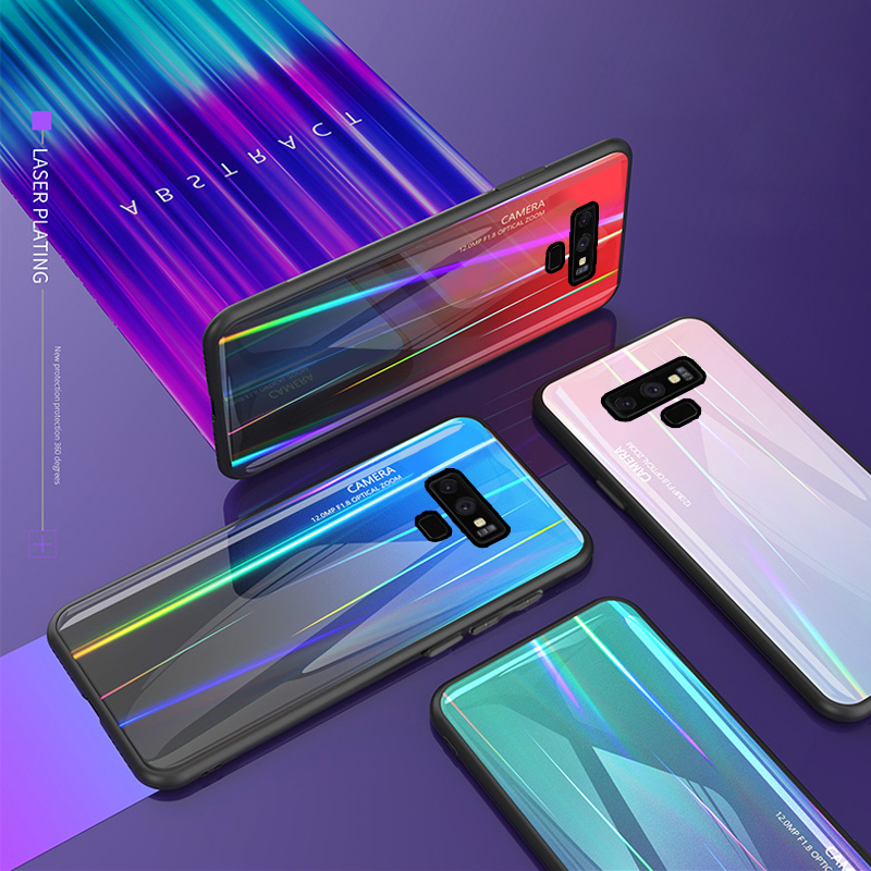 Tempered Glass Case for Samsung Galaxy Note 9 Note9 Gradient Color Aurora Laser Back Cover