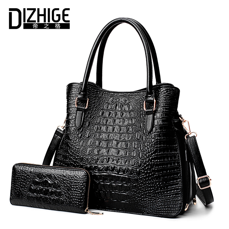 DIZHIGE Brand Alligator Composite Bags Women High Quality Women Handbags Designer PU Leather Shoulder Bag Ladies Autumn New 2017 dizhige brand fashion black women bag designer handbags high quality pu leather bags women shoulder bag ladies handbags 2017 new