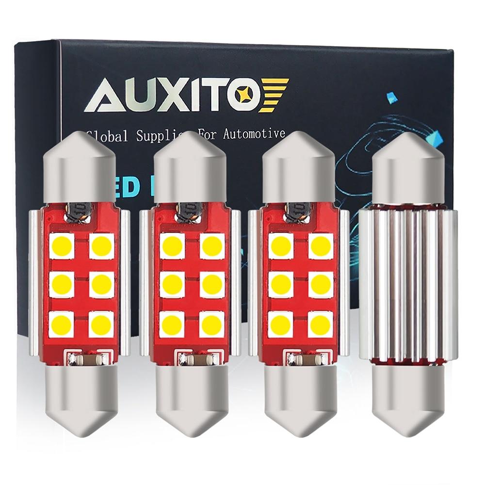 Auxito 4x canbus c5w festão led 31mm/36mm/41mm 3030 smd luzes interiores do carro dome leitura luzes da placa de licença 12 v 6000 k branco