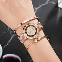 4Pcs Women watches 2018 new designer bracelet watch set with 2 pcs popular stainless steel bangle for gift watch box top hot