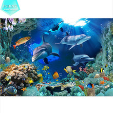 5D DIY Diamond embroidery underwater world picture Decorative Mosaic Full round rhinestones animals dolphins fish drill Painting