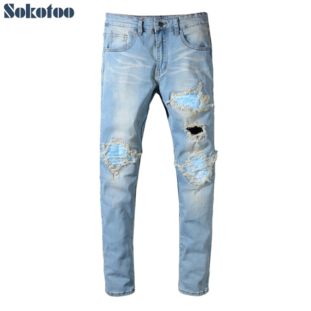Sokotoo Men's pleated patchwork biker jeans for motorcycle Skinny sky blue printed patch holes ripped denim pants