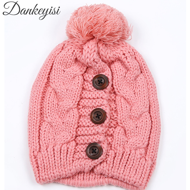 DANKEYISI Hot Sale Winter Hats for Women Knitted   Skullies     Beanies   Hat Pompons Cap Lady Bonnet Button Female Solid Casual Caps