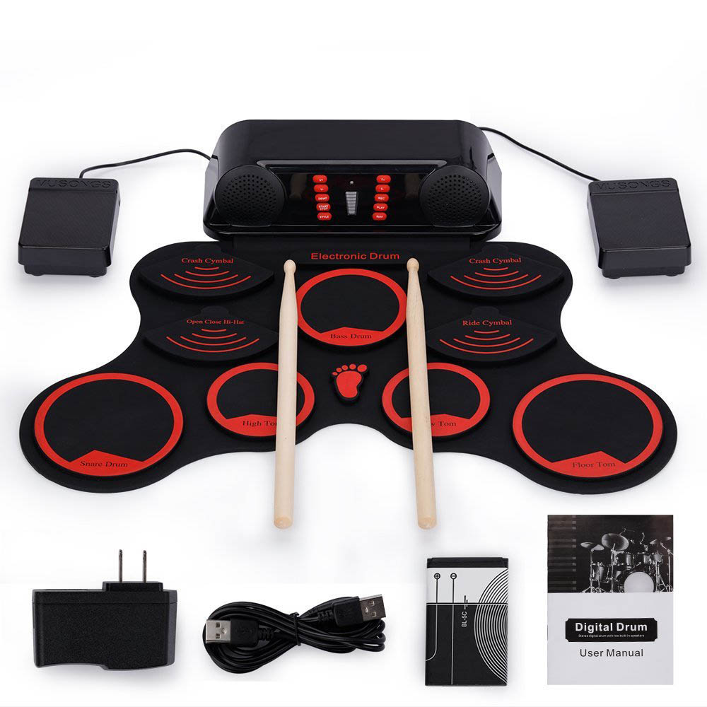 купить Portable Roll Up Electronic Drum Kit 9 Pads USB Drum Musical Instrument for Children Kids Learning Practice недорого