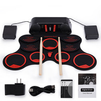 Portable Roll Up Electronic Drum Kit 9 Pads USB Drum Musical Instrument for Children Kids Learning Practice