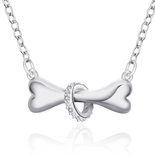 High-grade New Fashion Silver Plated Zircon Lovely Dog Bone Pendant Necklace Creative Classic Trendy Women Jewelry Gift