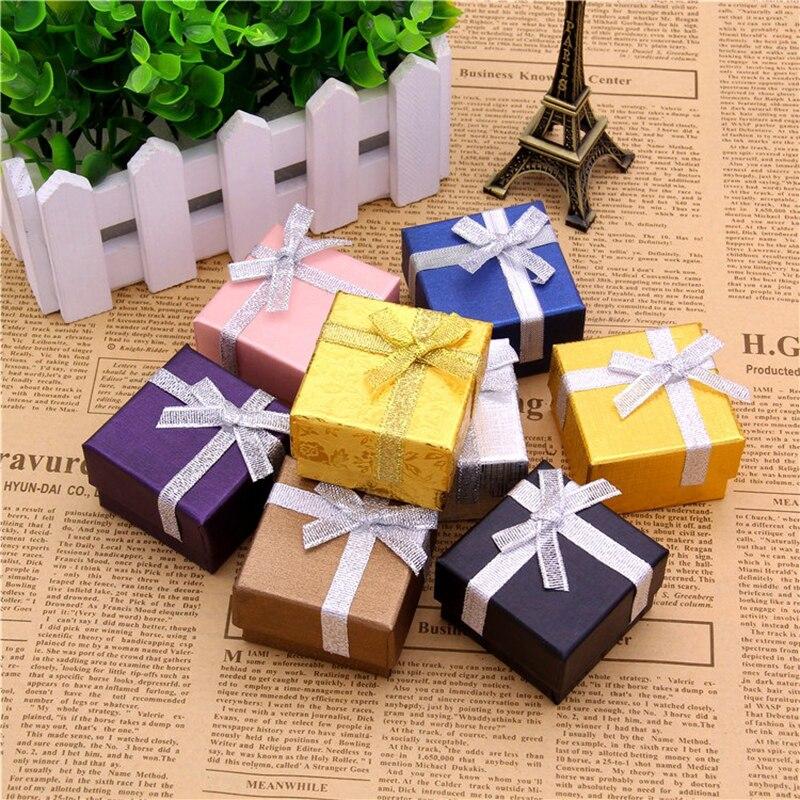 50*50*30mm Jewelery Box 12pcs Ring Earrings Display Holders Black/Silver Gift Cardboard Boxes Paper Packaging Jewellery Storage
