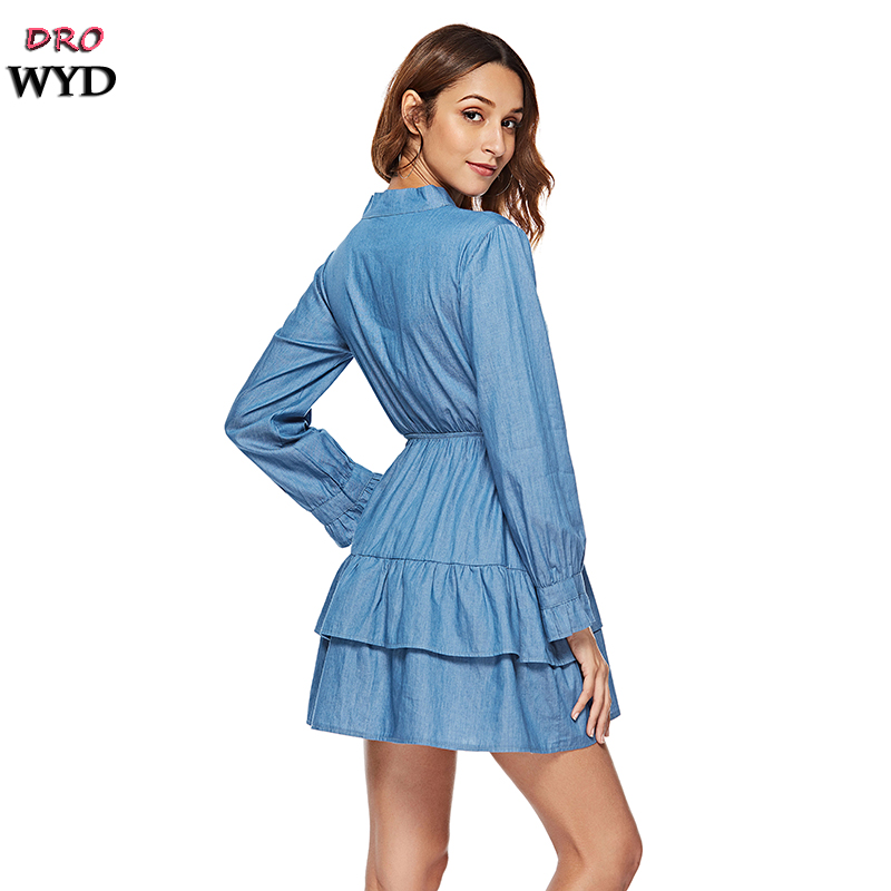 Summer Thin Blue Denim Mini Dress Women 39 s Casual Bow Tie Button Decoration Ruffle Dress Sexy Holiday Club Party Dresses Vestidos in Dresses from Women 39 s Clothing