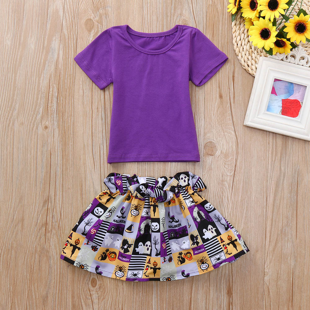 5fd123f8efe5 Detail Feedback Questions about Toddler Infant Baby Girls Tops Cartoon  Print Skirt Halloween Costume Outfits Set Abbigliamento per bambini Casual wear  on ...