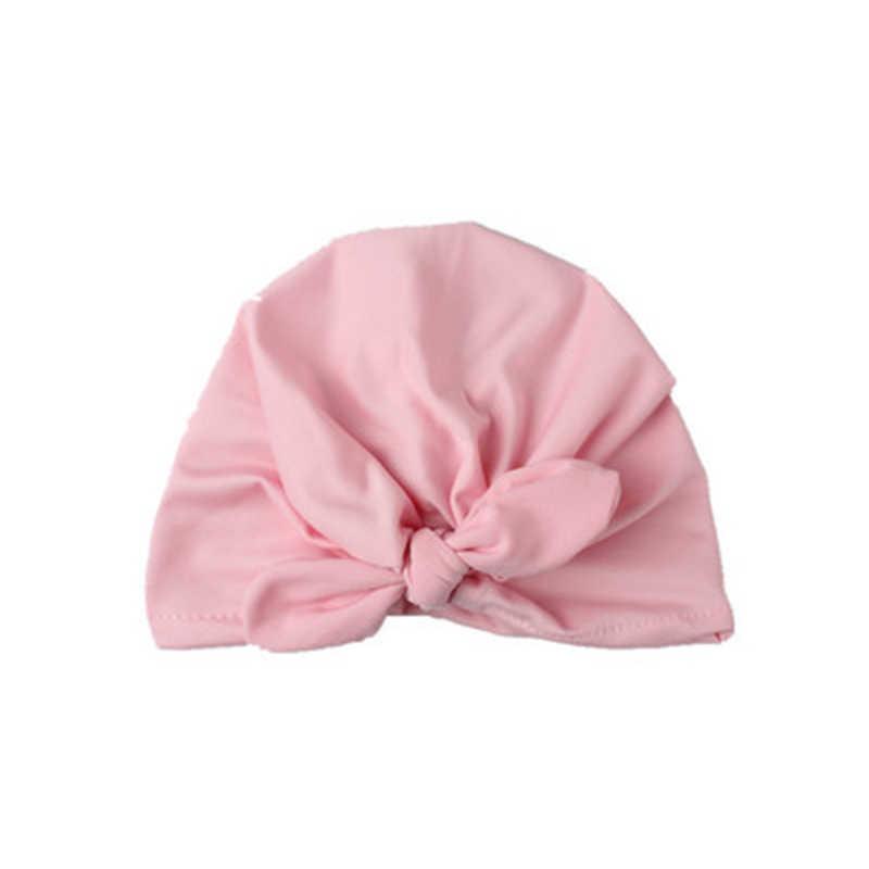 لطيف الطفل كبيرة تعادل عقدة قبعة الصلبة القطن لينة عمامة بيني فتاة الصيف الخريف قبعة الاطفال الوليد كاب الطفل الفتيات صورة الدعائم