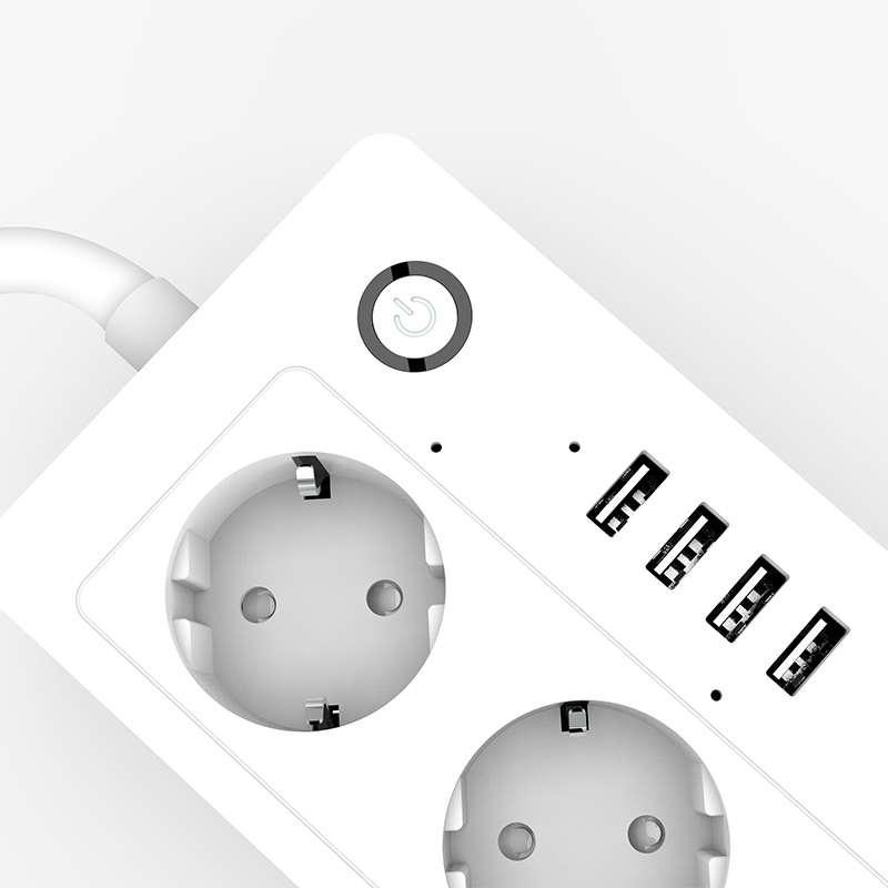 Lonsonho Wifi Smart Power Strip Socket USB EU KR Plug 16A Works With Alexa Google Home Mini IFTTT Smart Life APP