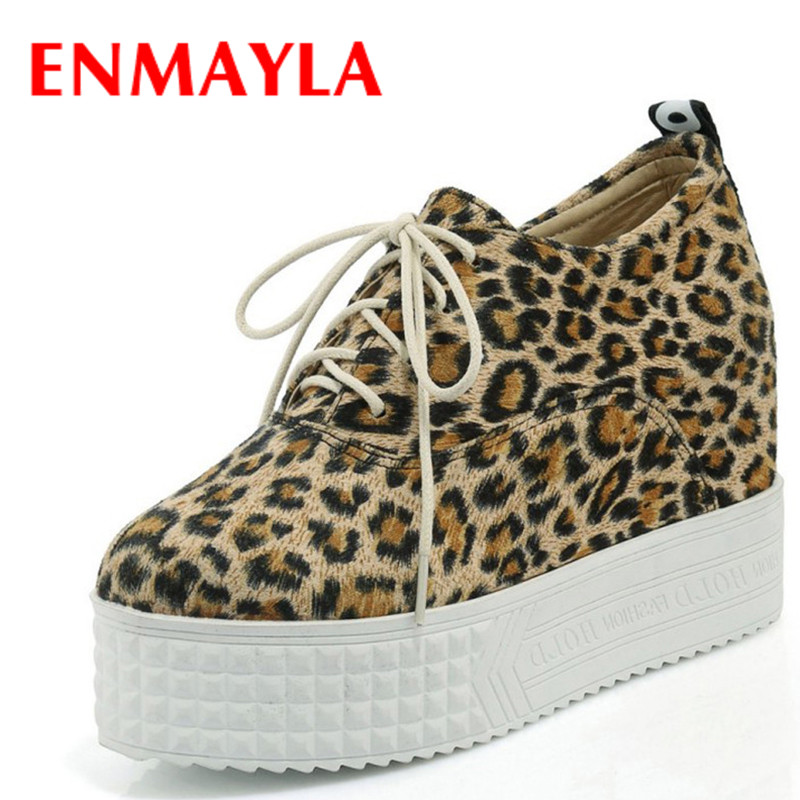ФОТО ENMAYLA New Leopard Shoes Woman Lace-up High Heels Round Toe Pumps Plus Size 34-43 Casual Shoes in Womens